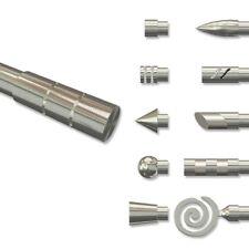 Endstücke für Gardinenstangen 20 mm Ø, Rillenzylinder (2 St.) in Edelstahl Optik