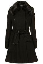 Nuevo abrigo con faldón de cuello Topshop Imitación Piel UK 6 Negro en