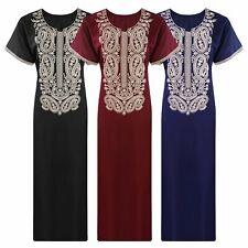 Mesdames satin dentelle longue chemise de nuit nuisette broderie détaillée nighty taille 8-14