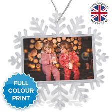 Personalised Photo Christmas Xmas Tree Snowflake Bauble Decoration Ornament Gift