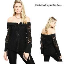 Haute BOHO Black Victorian Gothic Lace Off Shoulder Long Sleeve Blouse Top S M L