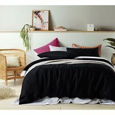 3 Pce 100% Pure Linen BLACK Quilt Doona Duvet Cover Set - QUEEN KING Super King