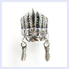 STR Silver Native Feather Crown America Travel Bead f/ European Charm Bracelet