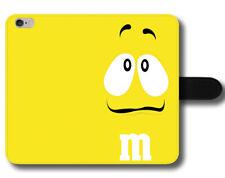 Amarillo M&m Gracioso precioso color chocolate sabroso hilarante Cuero Funda Protectora De Teléfono