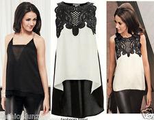 Ladies Womens Celebs Michelle CROCHET PU Trim Dip Hem Blouse Vest Top Dress 8-14