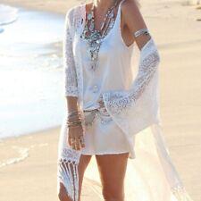 Womens Cardigan Boho Tassels Fringe Lace Kimono Beach Cover Up Cape Long Jacket