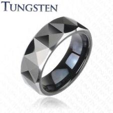 Prism Cut Black Tungsten Carbide Wedding Ring Size 9,10,11,12,13 (f69)