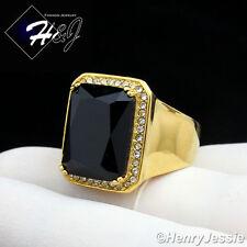 MEN's Stainless Steel ICED BLING CZ Gold Black Onyx Ring Size 6-12*GR98