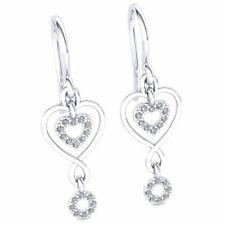 Natural 0.2carat Round Cut Diamond Ladies Heart Infinity Earrings 14K Gold
