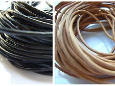 2m cordon de cuir véritable – Fil création Noir ou Naturel 1 / 1,5mm