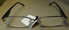 Thin Rectangular Metal Frame Black Stems Silver Frame Reading Glasses Clear Lens