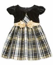 BONNIE JEAN BABY® 18M, 24M Holiday Gold & Black Plaid Dress NWT $60