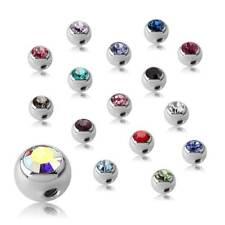 1.6 mm Kristallstein Piercingkugel mit Seitengewinde Einzel Ersatz Glitzer