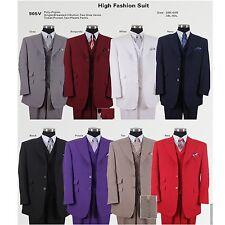 """Fashion suit 3 Button, Vest , Double Vent Length 35"""" Design by Milano Moda  905V"""