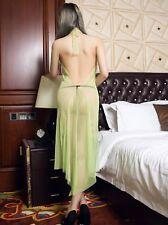 Women Sheer Dress See Through Babydoll Nightwear Backless Spaghetti Transparent