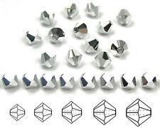 Czech MC Glass Bicone Beads (Rondell/Diamond) Crystal Labrador CAL Full Silver