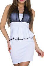SEXY MISS Femmes Peplum Pencil Mini robe Schößchen Tulle Dress L 38 noir blanc