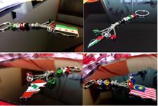 Souvenir National Country Flag Map  Beads Keychain Key Holder Fashion Key Chain