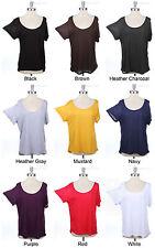 Solid Plain Oversized Short Sleeve Top Wide Neck Loose Fit High Low Hem S M L