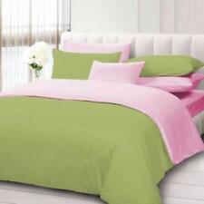 Reversible Duvet Set 1000 TC Egyptian Cotton All Size Sage & Pink Solid