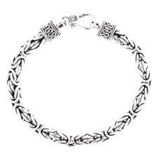 6mm 925 Sterling Silver Byzantine Handmade Bali Chain Bracelet