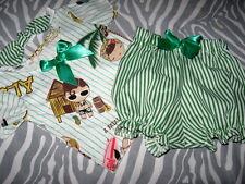 New COOL Baby Girls Green White stripes Harajuku T-shirt Bloomers Set Gift set