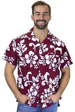 Funky Chemise Hawaïenne Hibiscus Rouge Marron