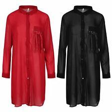 Womens Front Eyelet Lace Collar Ladies Pocket Tassel 3/4 Sleeve Midi Shirt Dress