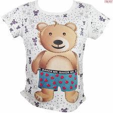 Mr Baker Bear/Ladies/Girls/Wild/Cartoon/Funny/White/Studs/Top/Tee/T shirt