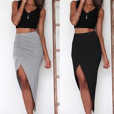Skinny Slit Maxi Long Pencil Skirt Fashion Ruched Side Split Slim Split Skirt