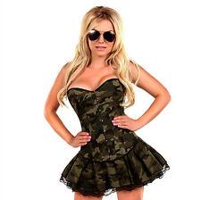 Burlesque Costume Corset Basque Cincher Lingerie Bustier Skirt Camouflage Wild