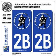 2 Stickers autocollant plaque immatriculation : 2B Ribellu Corse Patriottu