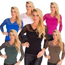 10185 sexy T-shirt femmes Shirt à manches longues avec dentelle pull haut pour