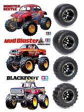 new 4pcs truck tires set for TAMIYA 2WD Monster Beetle/blackfoot/Mud Blaster