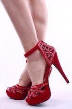 New Womens Peep Toe Ankle Strap Rhinestone Sandal Stiletto Heel Platform Cut-Out