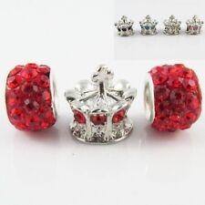 3pce Rhinestone Royal Crown Charm Bead Gift Set fit Euro Bracelet Pick Colour