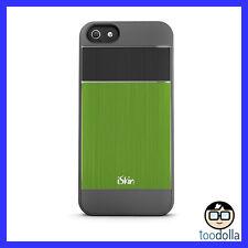 iSkin Aura - Ultra Slim Case, Brushed Aluminium Finish, iPhone 5/5s, Green/Black