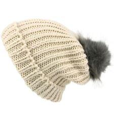 Bonnet grosses mailles bonnet avec Fourrure synthetique Pompon Rose Crème Hawkins