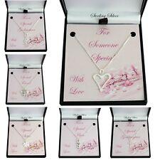 Sterling Silver Necklace for Women & Girls Owl, Heart, Mum, Star, Angel etc