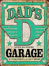 METAL VINTAGE SHABBY-CHIC DADS GARAGE TIN PLAQUE / FRIDGE MAGNET
