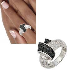 NEU breiter Damen Ring 925er echt Silber Zirkonia schwarz weiß Gr. 50-62