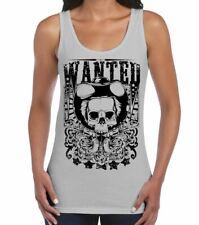 Wanted Poster Skull Large Print Women's Vest Tank Top - Cowboy Fancy Dress