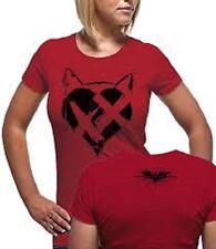 Official T Shirt BATMAN- CATWOMAN HEART TDKR Size M Red Womens Licensed Merch