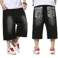 Mens Jeans Shorts Relaxed-Fit Hip Hop Capri Pants Loose Black Plus Size W30- 46W