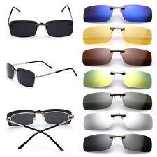 Polarized Sunglasses Clip On Flip-up Driving Glasses Day Night Vision Lens UV400