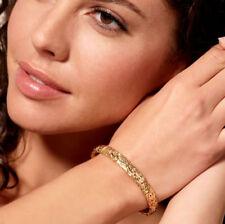 Technibond Comfort Fit Byzantine Bangle Bracelet 14K Yellow Gold Clad Silver 925