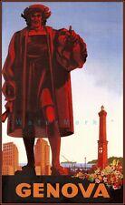 Genoa Italy 1947 Vintage Poster Print Retro Style Travel Decor Art