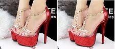 Sandalias de mujer Con Plataforma rojo talón 14,5 cm plataforma 5 cm 8579