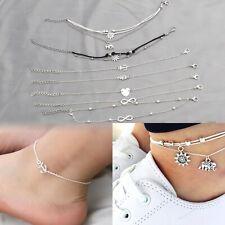 Tone Set Beach Jewelry Anklet Foot Chain Ladies Girls 2pcs Sun Set/ 5pcs Silver