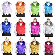 Boy Baby Toddler Kid Wedding Formal Party Black 4pc Suit Color Vest Bow Tie S-7